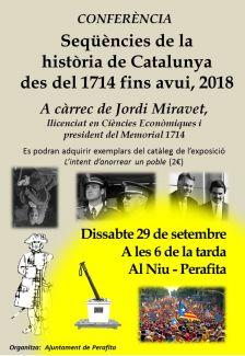 Conferència a Perafita: seqüències de la història de Catalunya des del 1714 fins avui, 2018